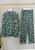Floral Printed Satin Long Sleeve Button Down PJ Set Sleepwear Set 2 Pieces/Free Shipping
