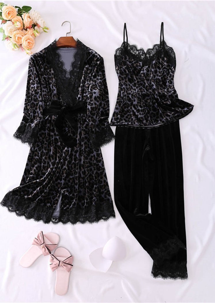 Womens Leopard Printed Pleuche Long Sleeve Pajamas Lace Trim 3 Pieces Sleepwear Sets/Free Shipping