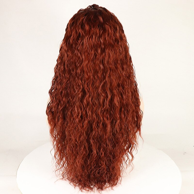 Ladiesstar Loose Curly Synthetic Lace Front Wig Copper Red Unique Looking Heat Resistant Fiber Water Wave Wigs For Women