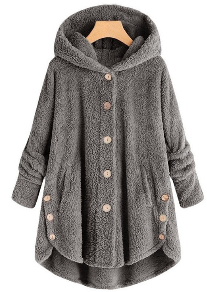 Women's Fuzzy Fleece Round Button Jacket Hooded Fluffy Coat/Free Shipping
