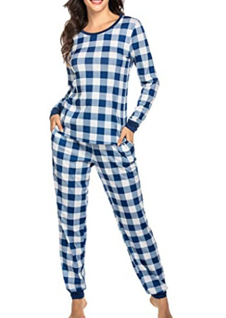 Womens Christmas Plaid Printing Pajamas Long Sleeve 2 Pieces Sleepwear Sets With Pocket/Free Shipping