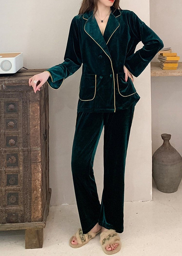 Women's Long Sleeve Solid Color Button Sleepwear Set 2 With Pockets/Free Shipping