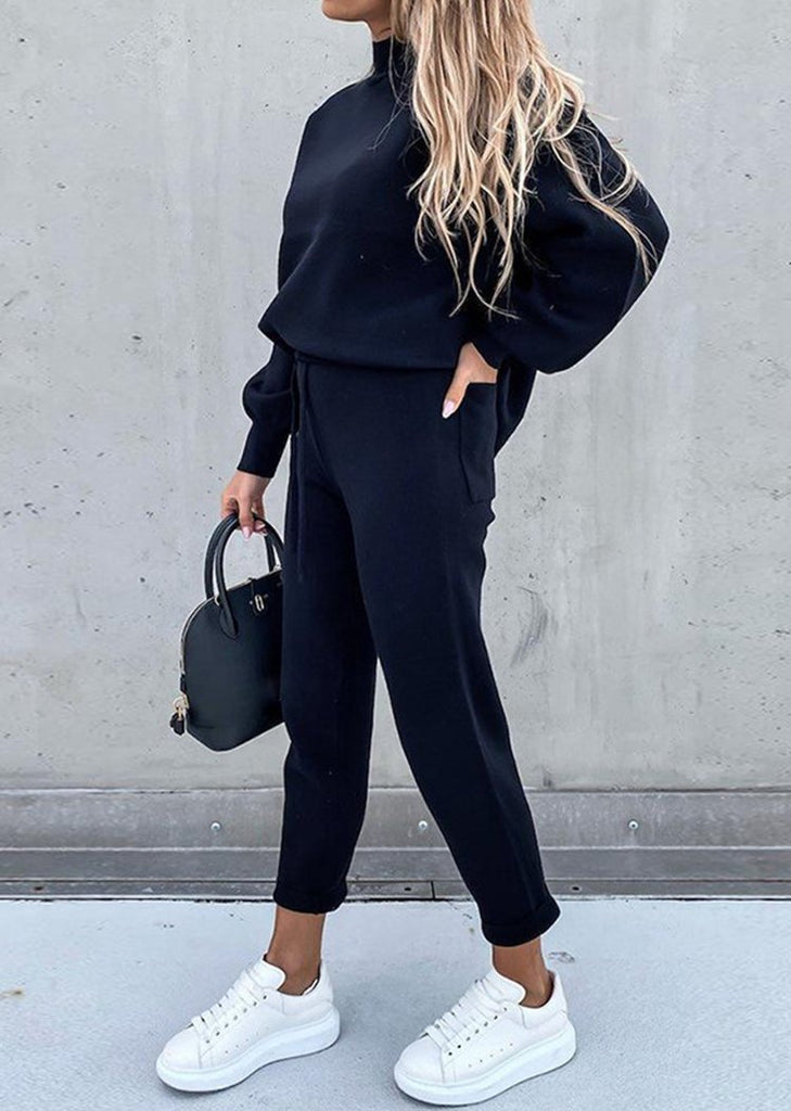 Women's Fashion 2 Piece Casual Outfits High collar Pullover Top Slimming Joggers Pants Sets/Free Shipping