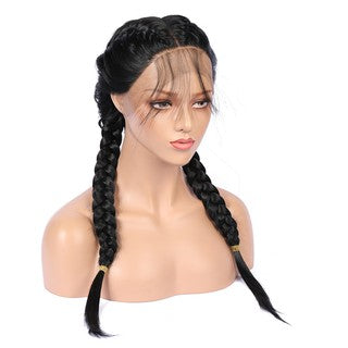 Synthetic Baby Hair Braided Lace Front Wig Straight Long Black Women Hair Wigs/Free Shipping