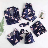 Wigsfox Navy Tulip Printing 7pcs Satin Sleepwear Set Cami Pjs with Shirt and Eye Mask/Free Shipping