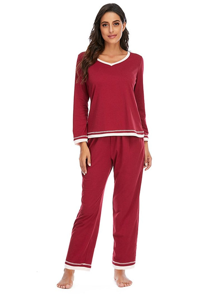 Womens Color Block Pajamas Long Sleeve 2 Pieces Sleepwear Sets With Pocket/Free Shipping