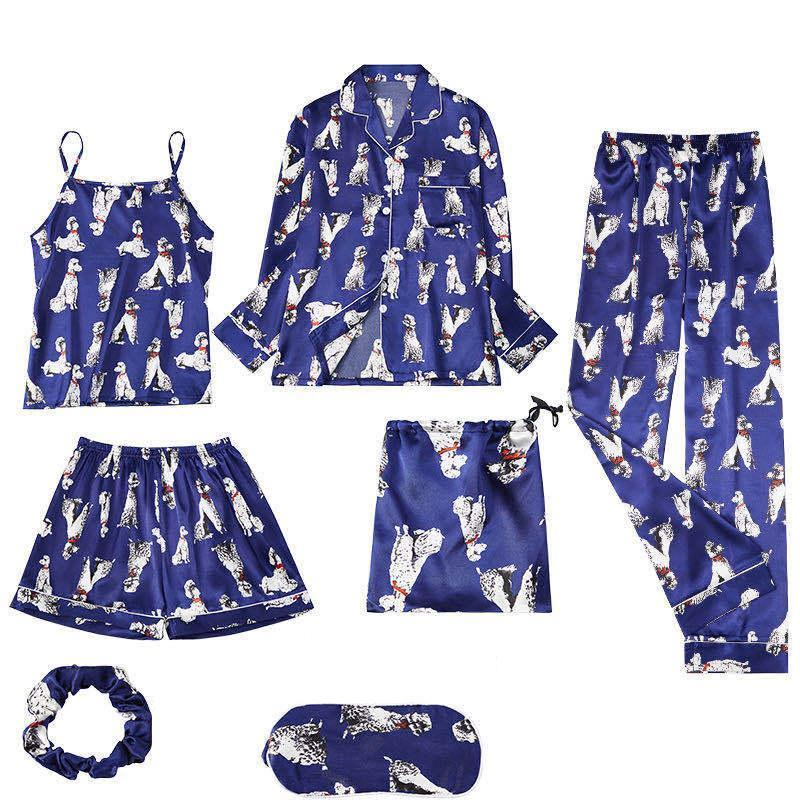Wigsfox Blue Dog Printing 7pcs Satin Sleepwear Set Cami Pjs with Shirt and Eye Mask/Free Shipping