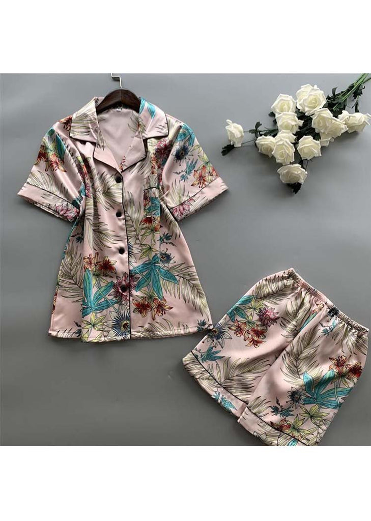 Pink Tropical Print Silk Short Sleeve Sleepwear Set/Free Shipping