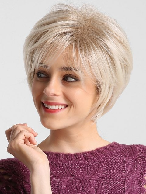 Ladystar Lace Front Wigs Short Solid Straight Side Bang Synthetic Wig