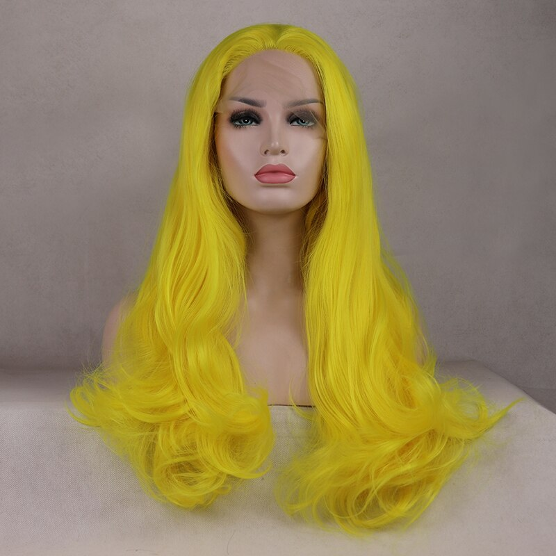 Ladiesstar Realistic Looking Long Wavy Heat Resistant Fiber Synthetic Lace Front Yellow Wig For Women