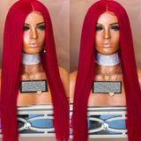 Center Parting Long Straight Synthetic Party Wig - Chestnut Red/Free Shipping
