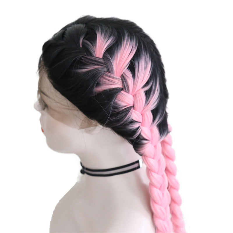 New Wig Fashion Middle Score Long Straight Pink Hair Multicolor Optional Braided Wig