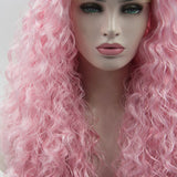 Ladiesstar Water Wave Synthetic Lace Front Wig Loose Curly Heat Resistant Fiber Wig Light Pink Color With Baby Hairs For Women