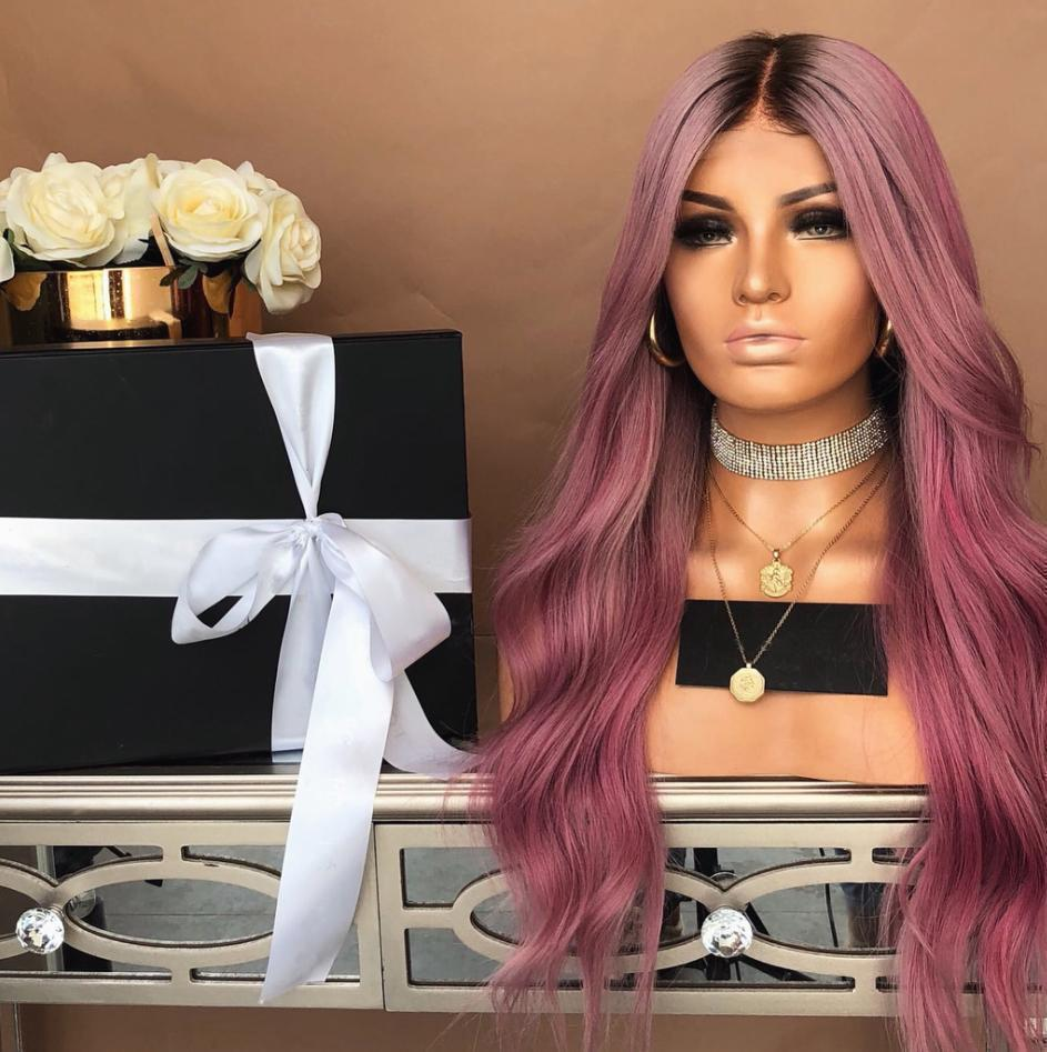 Wave long hair of purple red lace front wigs for women