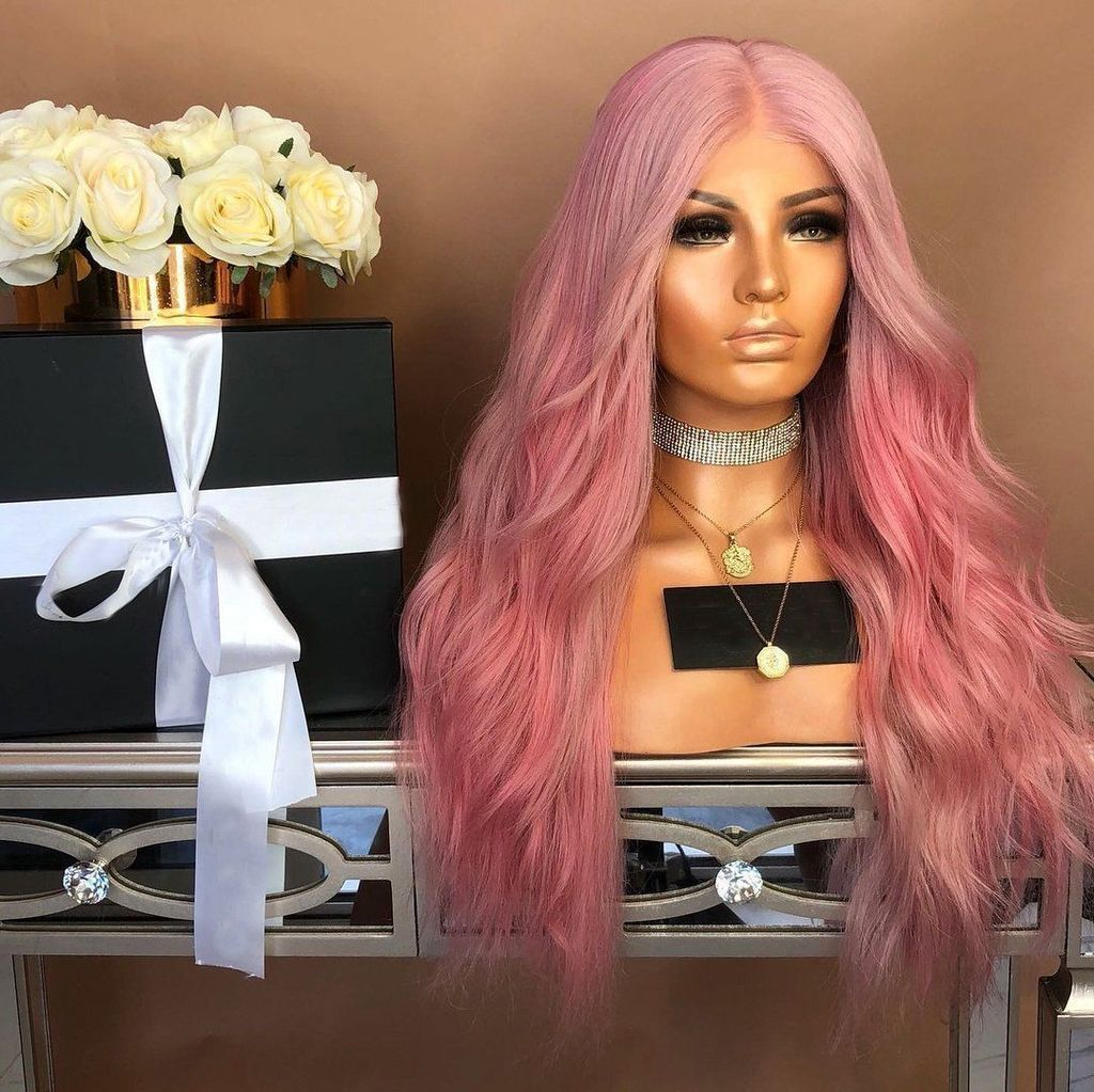 Women Pink Wave Long Lace Front Wigs Hair For Wedding