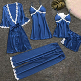 Female Lace Trim Lingerie Sleepwear Set 5 Pieces/Free Shipping