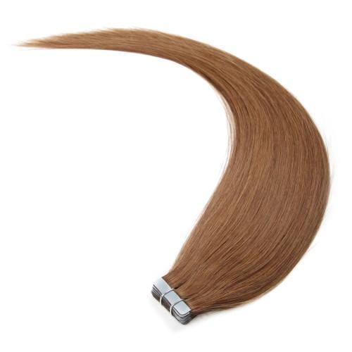 Straight Tape In Hair Extensions #8 Light Brown/Free Shipping