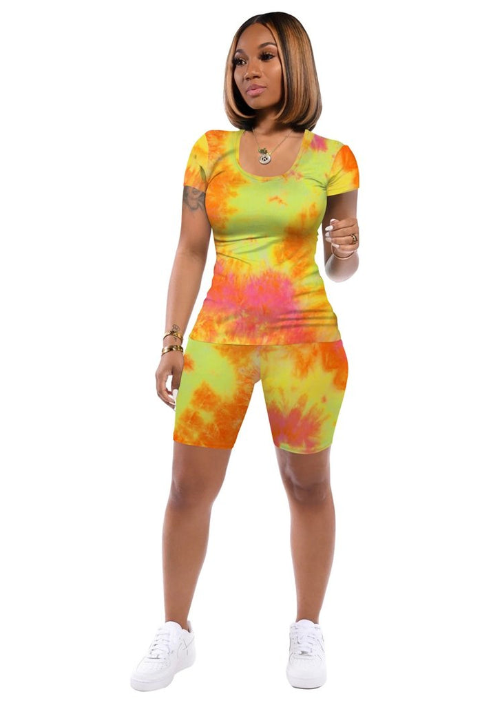 Casual Two Piece Outfits for Women Round Neck Tie Dye Short  Pajamas Set/Free Shipping