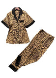 Notch Collar Leopard Print Sleepwear Two Pieces Pajama Set/Free Shipping