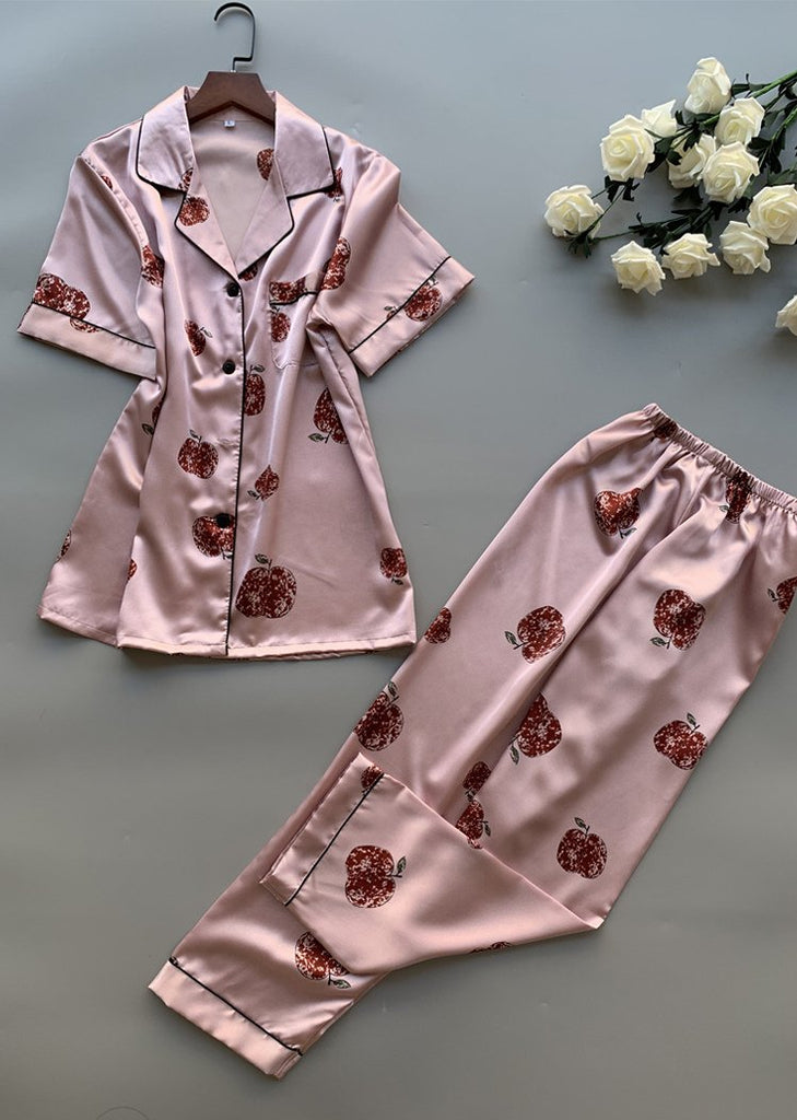 Apple Printing Silk Short Sleeve Button Up Sleepwear Set/Free Shipping