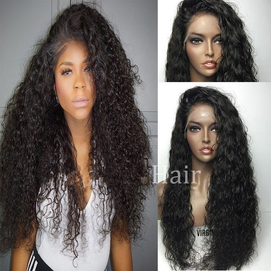 Women Pre Plucked Peruvian Virgin Human Hair 360 Lace Frontal Wigs Wave Full Wig