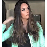 Kinky Straight Style Middle Part Capless Wig Dark Brown Lace Front Wigs/Free Shipping