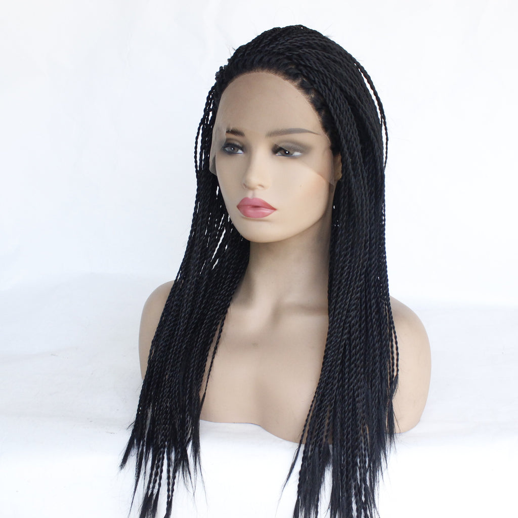 Braid Wigs Black Braids Synthetic Lace Front Wig Straight Braided Box Braided Lace Wigs/Free Shipping