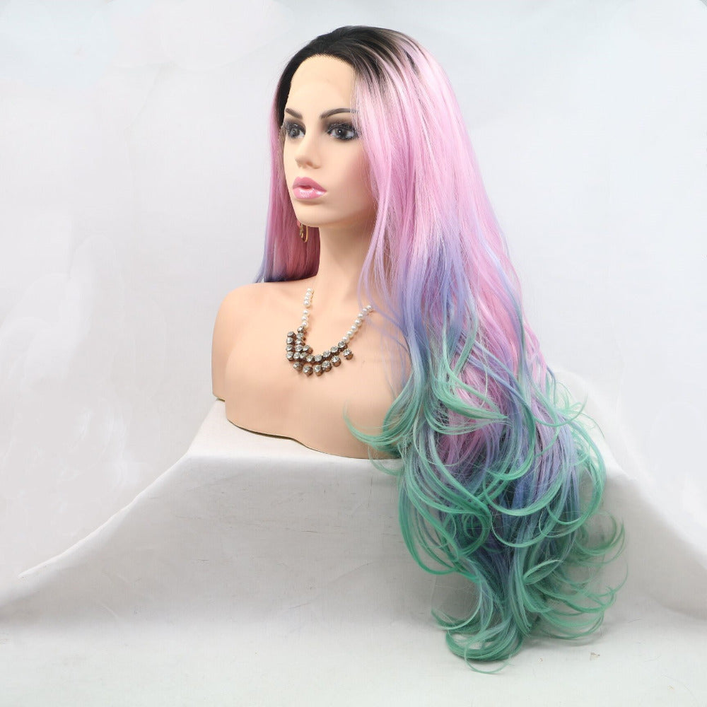 Ladiesstar Long Wavy Ombre Pink Purple Blue Synthetic Lace Front Wig Dark Root Colorful Lace Front Wig For Women/Free Shipping