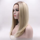 Fantasy Beauty Dark Roots Two Tone Ombre Blonde Wig Short Bob Synthetic Lace Front Wigs Heat Resistant