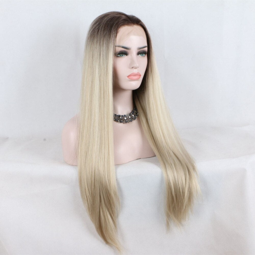 Ladiesstar Natural Looking Half Hand Tied Long Straight Heat Resistant Fiber Dark Root #6 Synthetic Lace Front Ombre Blonde Wig