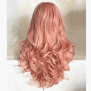 Fashion Synthetic Hair Lace Front Wig Fashion Long Wavy Pink Full Wigs for Women/Free Shipping
