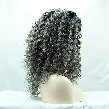 kinky curly hair black root grey color synthetic fiber hair wig/Free Shipping