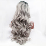 Fantasy Beauty Two Tones Cheap Synthetic Long Nature Wave Heat Resistant Lace Front Wig Middle Part Ombre Black Root Silver Gray/Free Shipping