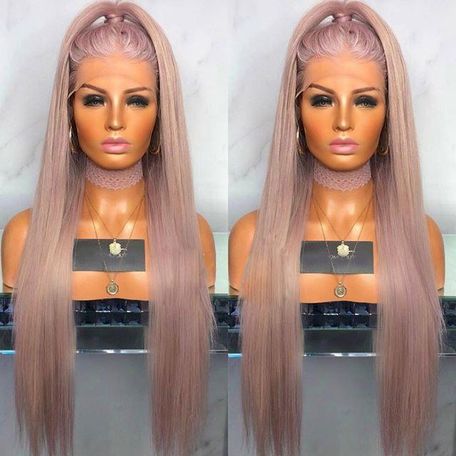 Light pink wavy wig/Free Shipping