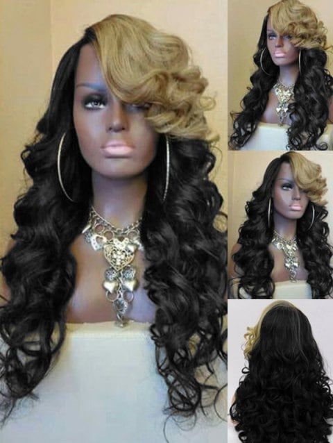 Long Inclined Bang Two Tone Loose Wave Party Synthetic Wig