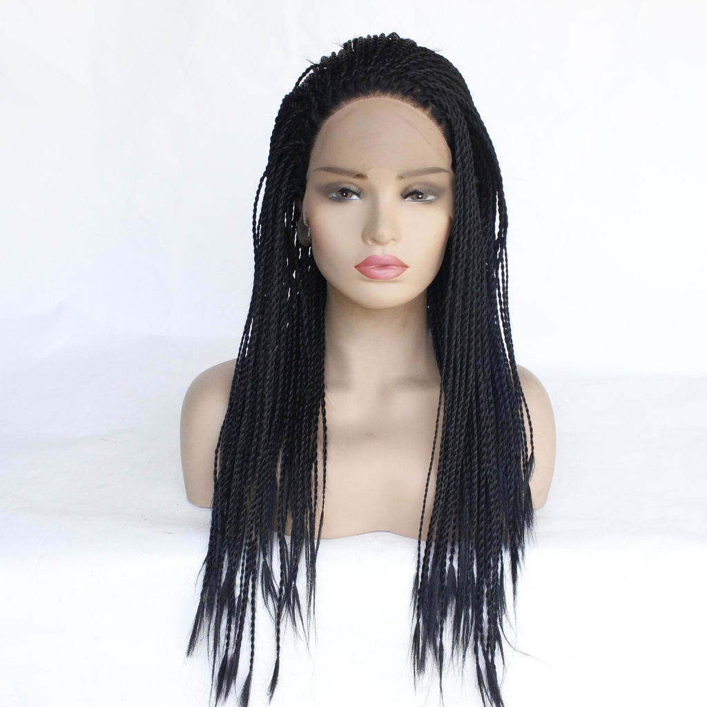 Braid Wigs Black Braids Synthetic Lace Front Wig Straight Braided Box Braided Lace Wigs