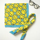 12 Pcs Cotton Creative Smiling Face Print Head Scarf Cowboy Bandanas Headwrap Wristband