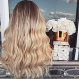 New Gold Brown Natural Long Wave Wig/Free Shipping