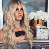 Women Black gradually champagne Lace Front Wave Long Wigs/Free Shipping