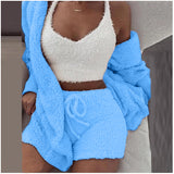 Women plush home wear pajama long sleeve crop vest shorts set/free shipping