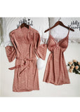 Wave Point Silk Lace Trim Lingerie Sleepwear 2 Pieces Set/Free Shipping