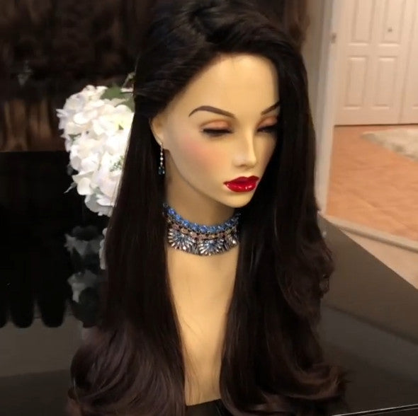 Women Fashion Black Wave Wig Lace Front Wave Long Wigs