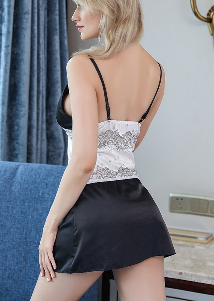 Black Lingerie Nightdress Lace Splice V-Neck Backless Nighties/Free Shipping