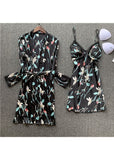 Womens  Floral Print Satin Lingerie Sleepwear 2 Pieces Set/Free Shipping
