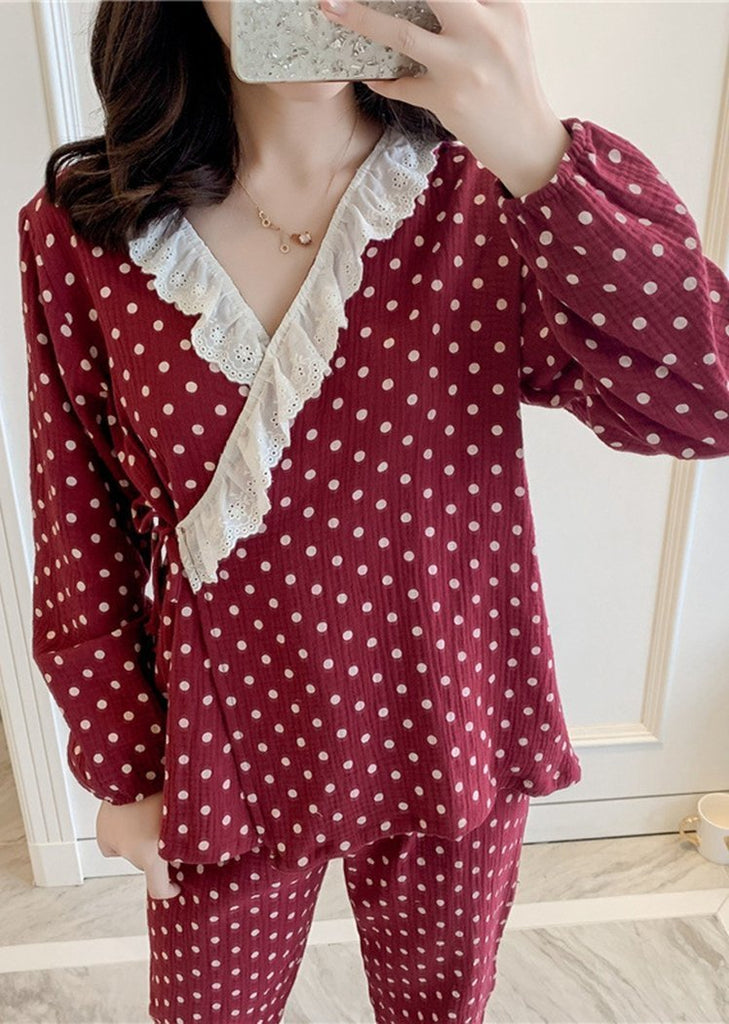 Women's Lace Long Sleeve Side Lace Up Set 2 PiecesWith Dots/Free Shipping