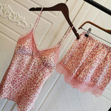 Pink Leopard Printing Silk Lace Trim Padded Long Sleeve PJ Set Sleepwear Set 4 Pieces/Free Shipping