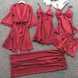 Long Sleeve Silk Lace Trim Nighties Lingerie Sleepwear Set 5 Pieces/Free Shipping