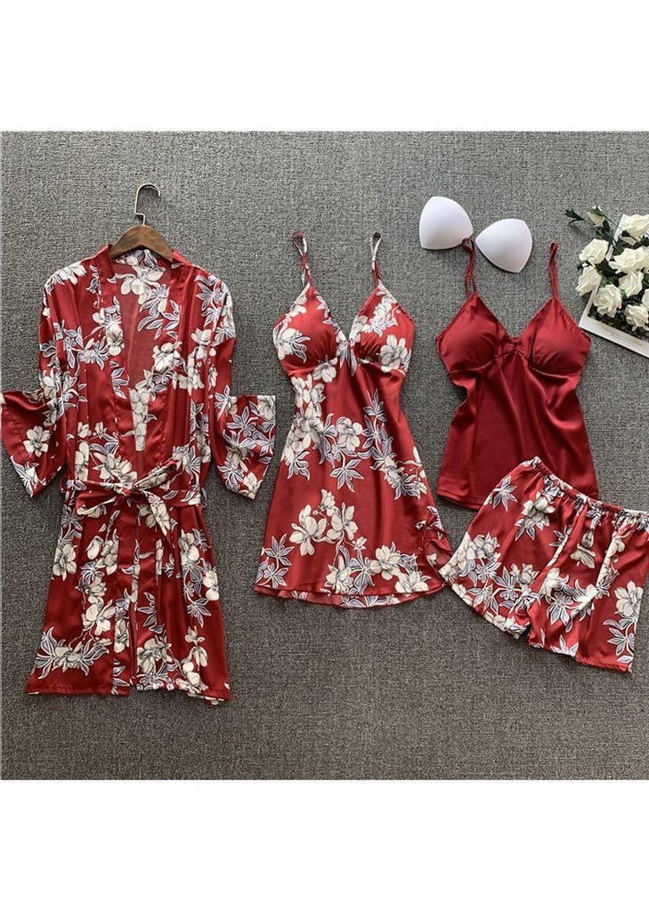 Womens White Floral Print Satin Lingerie Sleepwear 4 Pieces Set/Free Shipping