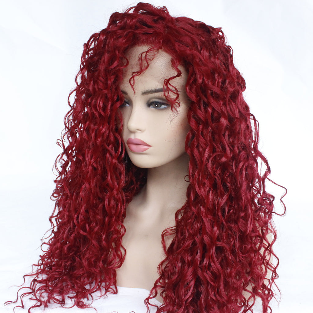 High Temperature Fiber Burgundy Red Purple Curly Lace Front Wig For Women/Free Shipping