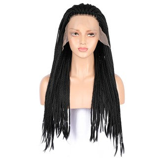 Micro Braided Lace Front Wigs Black Women Long Synthetic Hair Wig Heat Resistant
